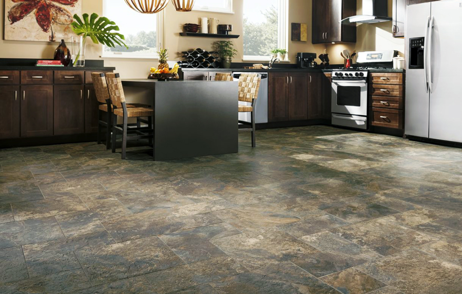 Vinyl floor tiles for kitchen
